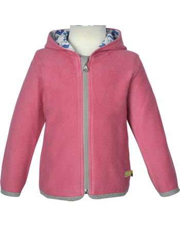 loud + proud Fleece jacket with hood FOREST ANIMALS mauve 3087-mau GOTS