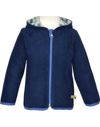 loud + proud Fleece jacket with hood FOREST ANIMALS ultramarin 3087-ul GOTS