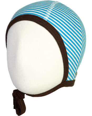 loud + proud Mütze mit Bänder BASIC aqua/natur GOTS 723-aq
