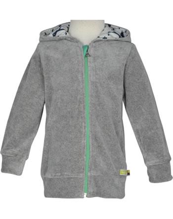 loud + proud Nicki-Jacke mit Kapuze PINGUIN grey 3061-gr GOTS