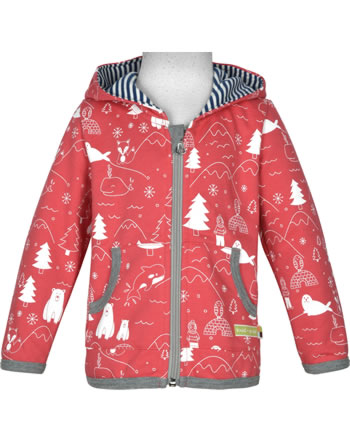loud + proud Jacket with hood POLAR BEARS AND ORCAS melon 3070-mel