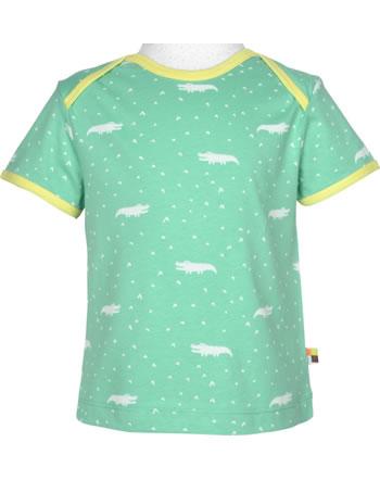 loud + proud T-Shirt Kurzarm ALLOVER KROKODIL mint 1044-min GOTS