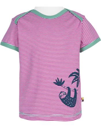 loud + proud T-Shirt Kurzarm Feiner Streifen FAULTIER azalea 1036-aza GOTS