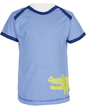 loud + proud T-Shirt Kurzarm Feiner Streifen KROKODIL cobalt 1036-cob GOTS
