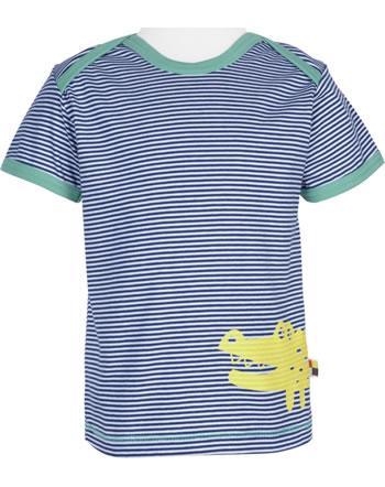 loud + proud T-Shirt Kurzarm Feiner Streifen KROKODIL ultramarin 1036-ul GOTS