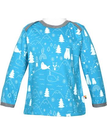 loud + proud T-Shirt Langarm Allover EISBÄREN & ORCAS aqua 1053-aq GOTS