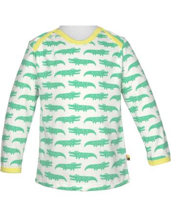 loud + proud T-Shirt Langarm Allover KROKODIL mint 1035-min GOTS