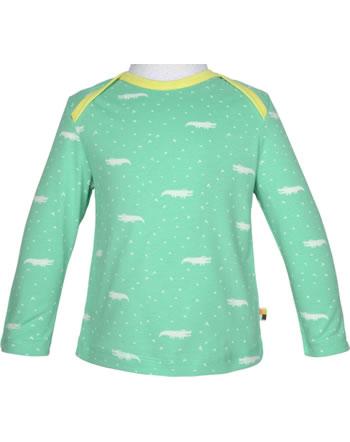 loud + proud T-Shirt Langarm ALLOVER KROKODIL mint 1045-min GOTS