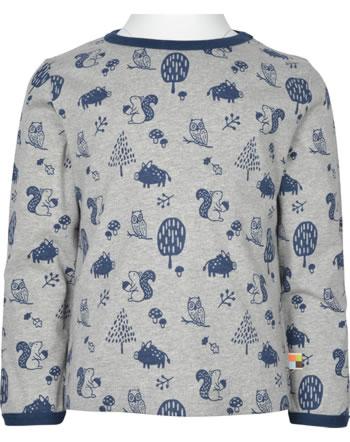 loud + proud T-Shirt Langarm Allover WALDTIRERE grey 1079-gr GOTS