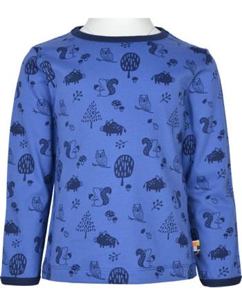 loud + proud T-Shirt Langarm Allover WALDTIRERE indigo 1079-ind GOTS