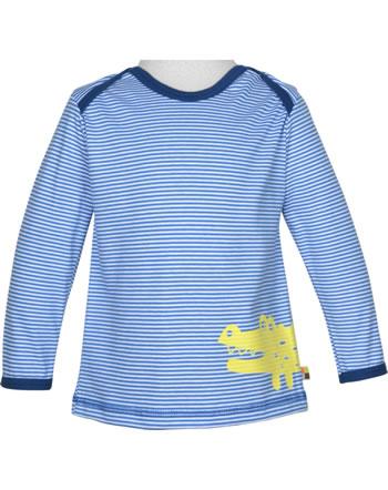 loud + proud T-Shirt Langarm Ringel KROKODIL cobalt 1037-cob GOTS