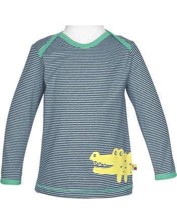 loud + proud T-Shirt Langarm Ringel KROKODIL ultramarin 1037-ul GOTS