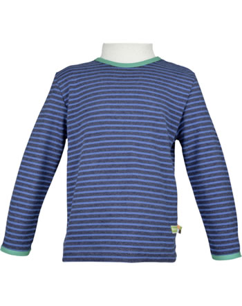 loud + proud T-Shirt Langarm Ringel ultramarin 1038-ul GOTS