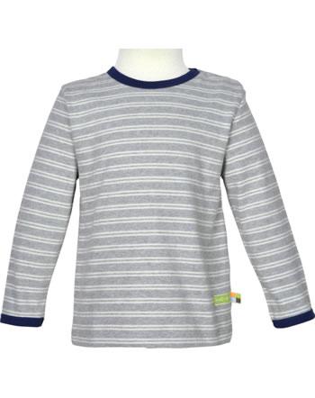 loud + proud T-Shirt Langarm Ringel WALDTIERE grey 1077-gr GOTS