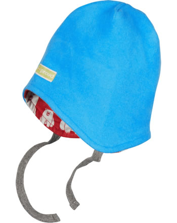 loud + proud Reversible hat fleece POLAR BEARS AND ORCAS aqua 7081-aq