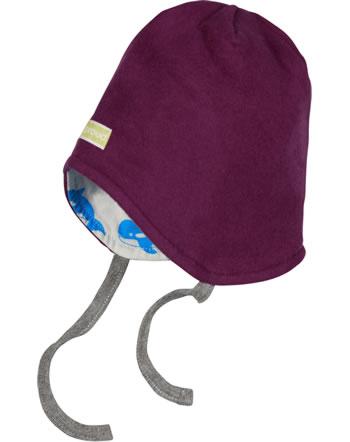 loud + proud Reversible hat fleece POLAR BEARS AND ORCAS plum 7081-plu