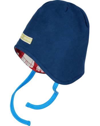 loud + proud Reversible hat fleece POLAR BEARS AND ORCAS ultramarine 7081-ul