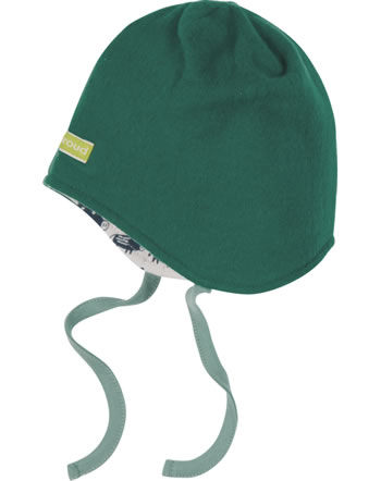 loud + proud Reversible hat fleece FOREST ANIMALS ivy 7104-ivy GOTS