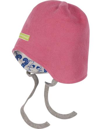 loud + proud Reversible hat fleece FOREST ANIMALS mauve 7104-mau GOTS