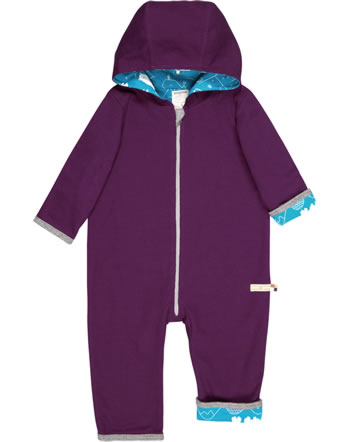 loud + proud Coverall knitted reversible POLAR BEARS AND ORCAS plum 5075-plu