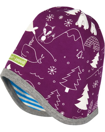 loud + proud Reversible cap POLAR BEARS AND ORCAS plum 7085-plu