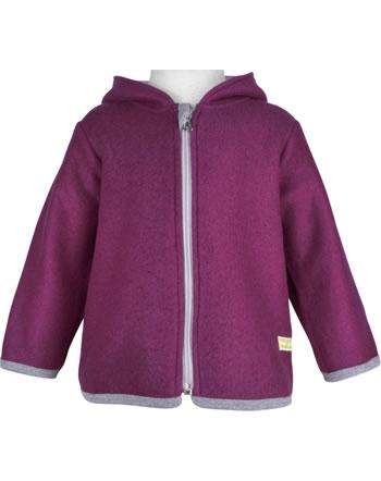 loud + proud Woolfleece jacket with hood POLAR BEARS AND ORCAS plum 3086-plu