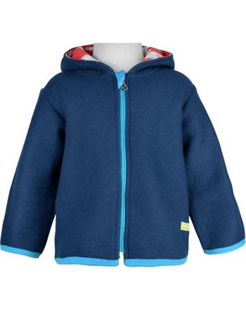 loud + proud Woolfleece jacket with hood POLAR BEARS AND ORCAS ultramarin 3086-ul