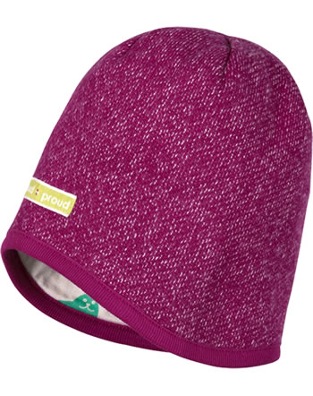 loud + proud Reversible knitted cap berry 7058-ber GOTS
