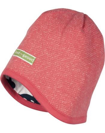 loud + proud Reversible knitted cap POLAR BEARS & ORCAS melon 7086-me