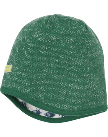 loud + proud Reversible knitted cap FOREST ANIMALS ivy 7111-ivy GOTS