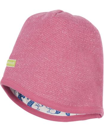 loud + proud Reversible knitted cap FOREST ANIMALS mauve 7111-mau GOTS