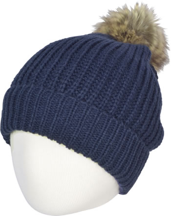 MaxiMo Hat with faux fur bobble marine 63573-777300-0011
