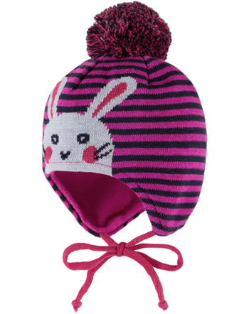 MaxiMo Bobble hat RABBIT sangria/navy striped 65573-773600-2648