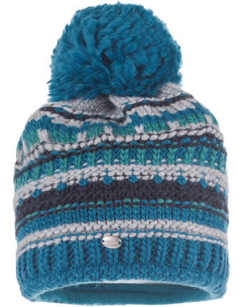 MaxiMo Knitted hat with pompom petrol/grey 73574-248700-0305