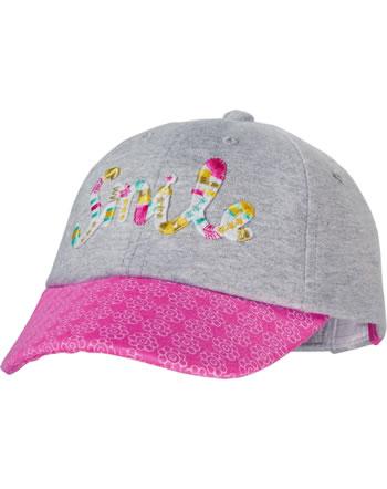 MaxiMo Basecap Mini Girl SMILE grau meliert/sun pink 03503-919276-525