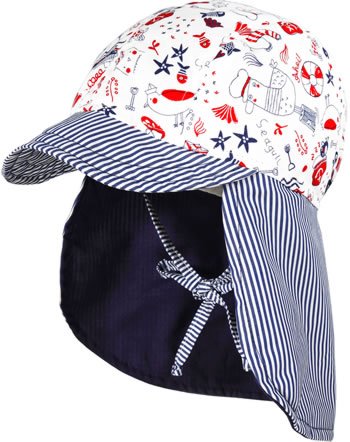 MaxiMo Cap with neck protection Mini BEACH white/red/navy 04500-052000-71