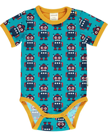 Maxomorra Baby-Body Kurzarm CLASSIC ROBOT petrol/orange C3500-M568