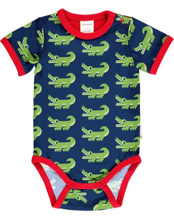 Maxomorra Baby-Body Kurzarm CROCODILE blau C3469-M470 GOTS