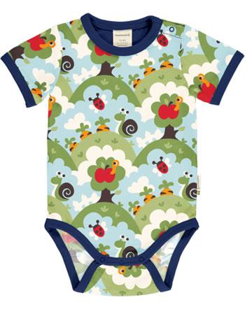 Maxomorra Bodysuit short sleeve GARDEN blue C3485-M470 GOTS