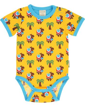Maxomorra Baby-Body Kurzarm KAMEL KARAVANE gelb/blau GOTS M470-C3336