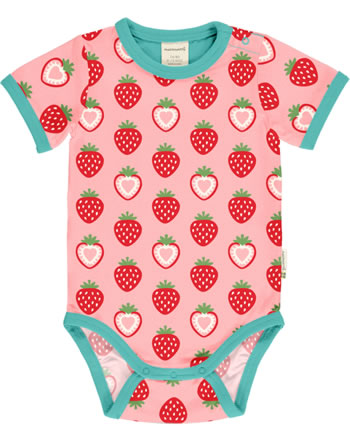 Maxomorra Bodysuit short sleeve STRAWBERRY pink C3484-M470 GOTS