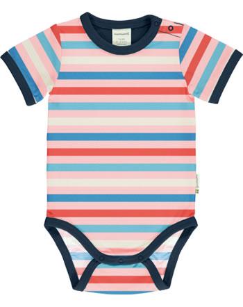 Maxomorra Baby-Body Kurzarm Streifen Blossom rosa GOTS M528-C3351