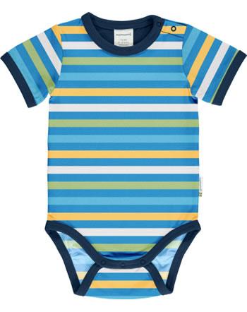 Maxomorra Baby-Body Kurzarm Streifen Ocean blau GOTS M528-C3350