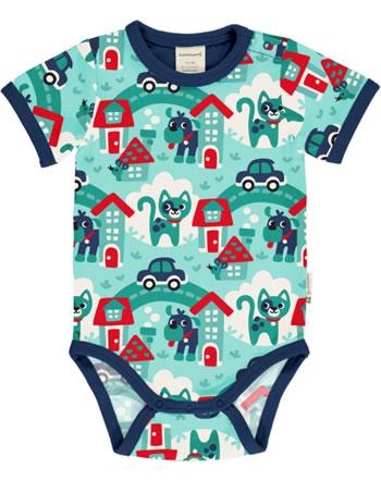 Maxomorra Body pour bébé manches courtes TOWN turquoise C3479-M470 GOTS