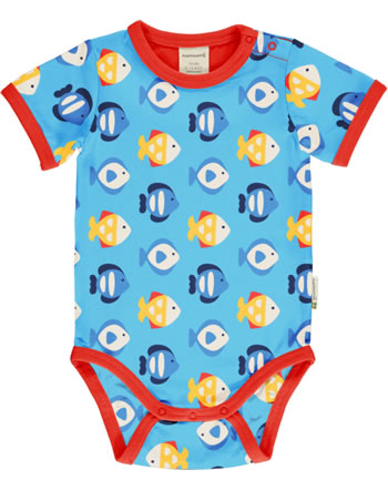Maxomorra Baby-Body Kurzarm TROPICAL AQUARIUM blau GOTS M470-C3348