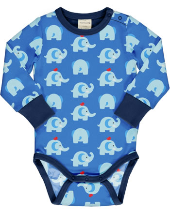 Maxomorra Baby-Body Langarm ELEPHANT FRIENDS blau GOTS M469-C3339