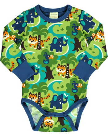 Maxomorra Baby-Body Langarm JUNGLE grün C3473-M469 GOTS