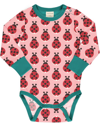 Maxomorra Baby-Body Langarm LADYBUG rosa XA16-04A GOTS