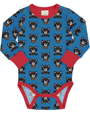 Maxomorra Baby-Body Langarm RACCOON blau XA13-04A GOTS