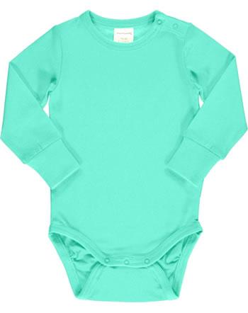 Maxomorra Bodysuit long sleeve SOLID AQUA blue C3516-M449 GOTS